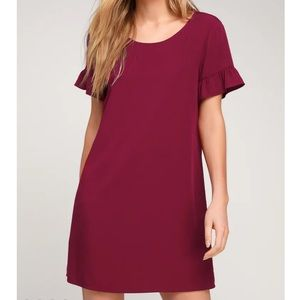 Lulu's Chic of Perfection Wine Red Shift Dress